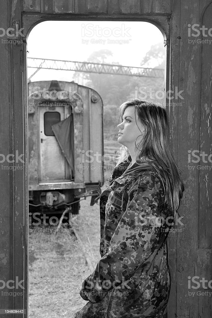 Woman at train royalty-free stock photo