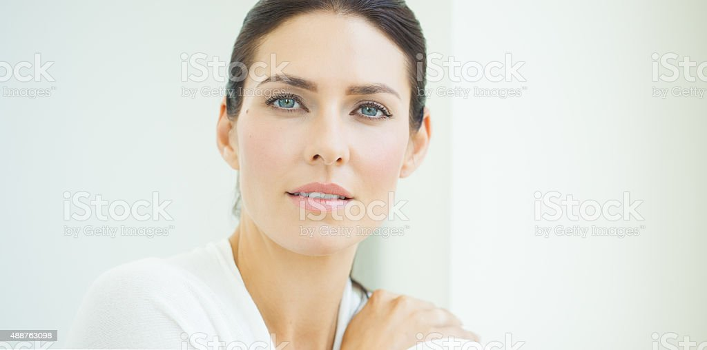 Woman At Window stock photo