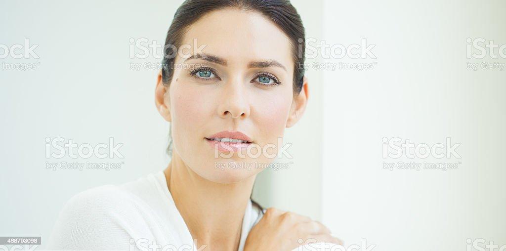 Woman At Window stock photo