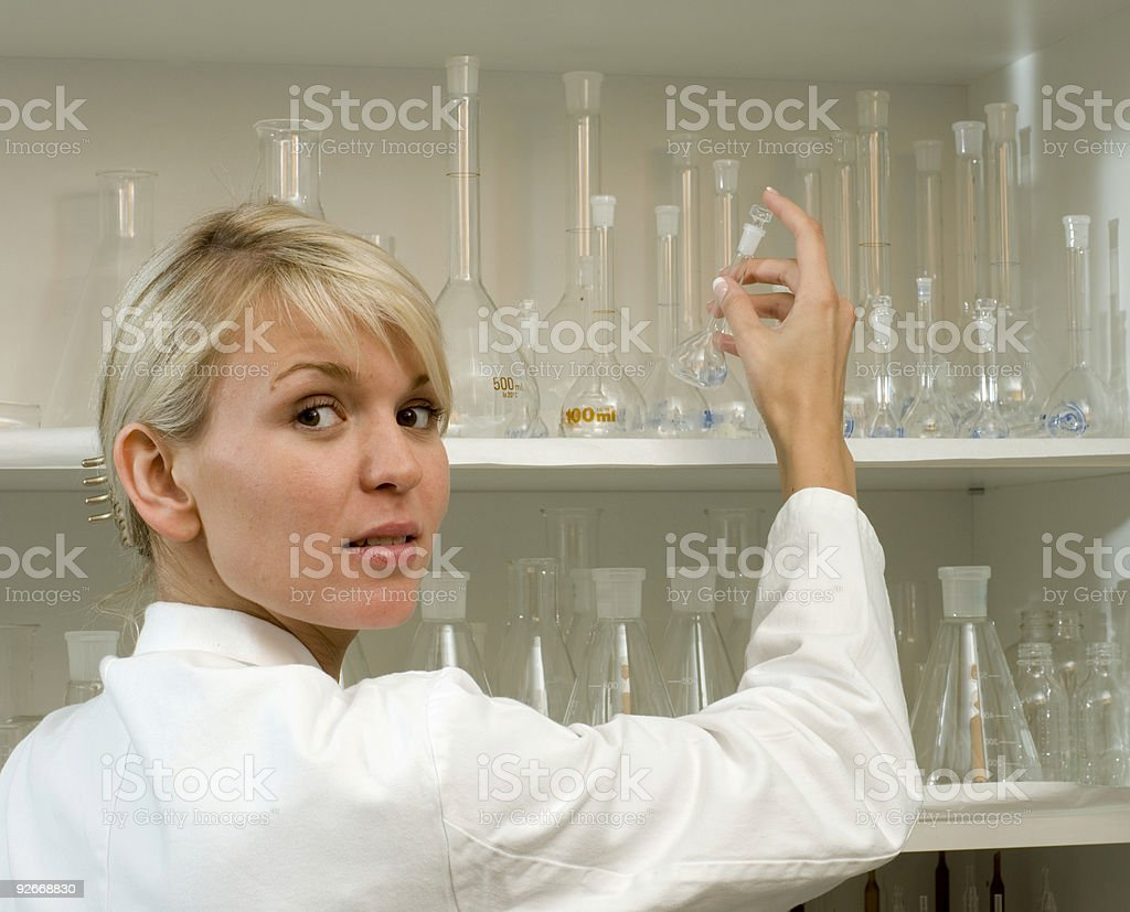 woman at work in lab royalty-free stock photo