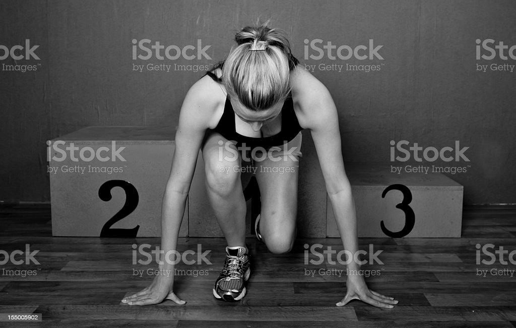 Woman athlete ready to go stock photo