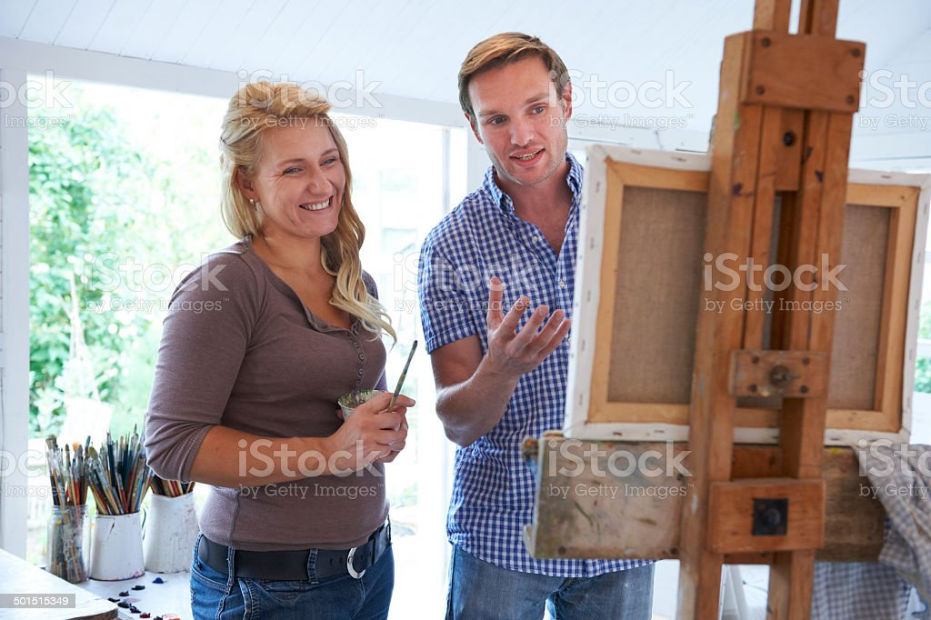 Woman Attending Painting Class stock photo
