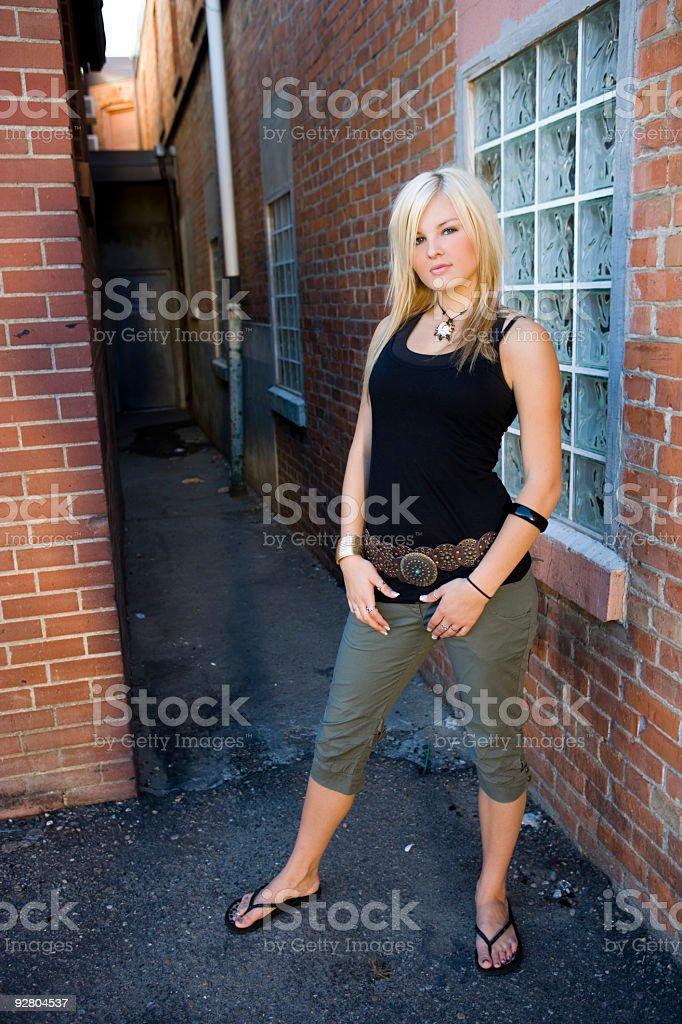 Woman / Back Alley 2 stock photo