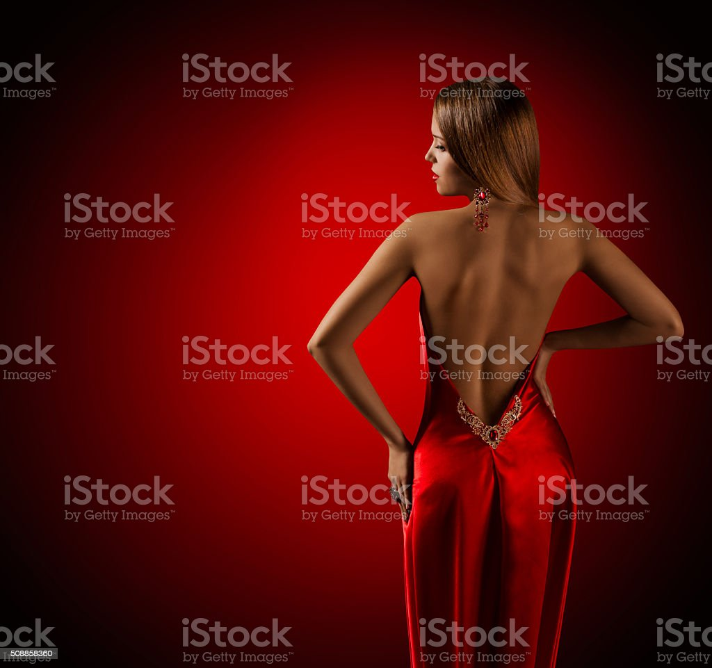 Woman Back in Red Dress, Beautiful Fashion Model Rear Turning stock photo