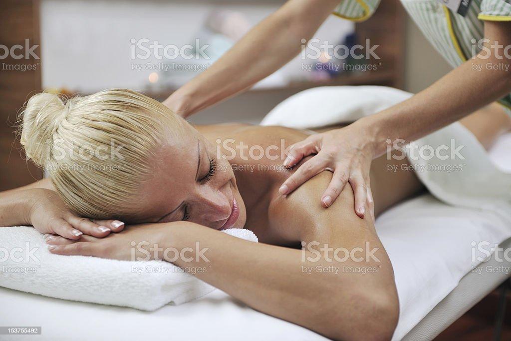 woman back massage treatment royalty-free stock photo