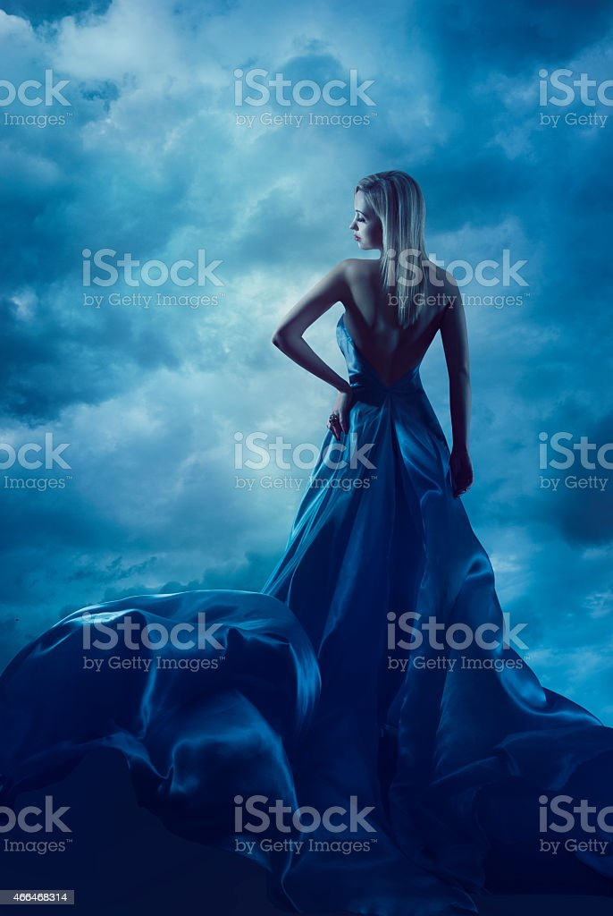 Woman Back Portrait, Evening Dress, Lady Silk Gown, Cloth Flying stock photo