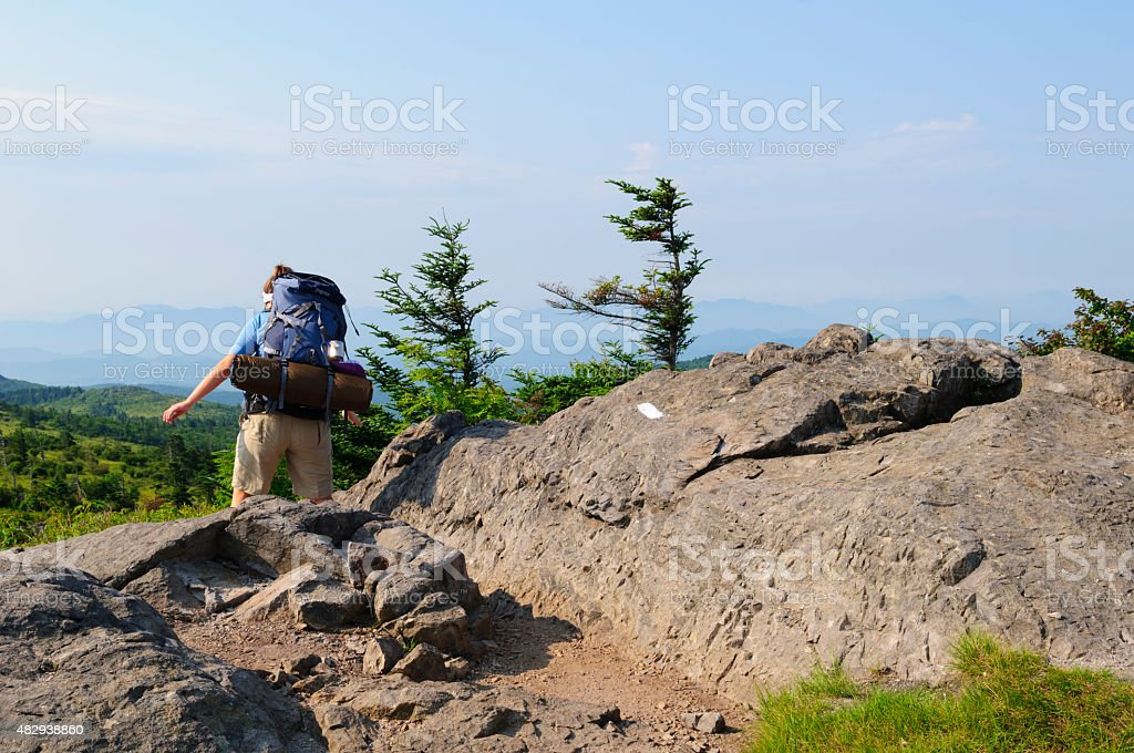 Woman backpacking in Grayson Highlands State Park, Virginia stock photo