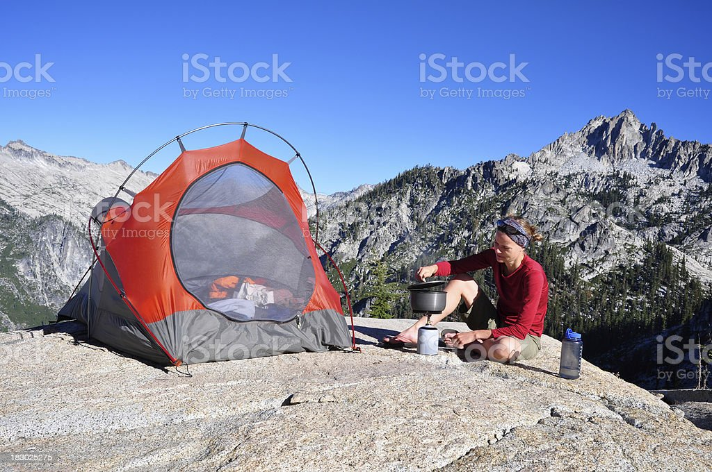 Woman Backpacking royalty-free stock photo