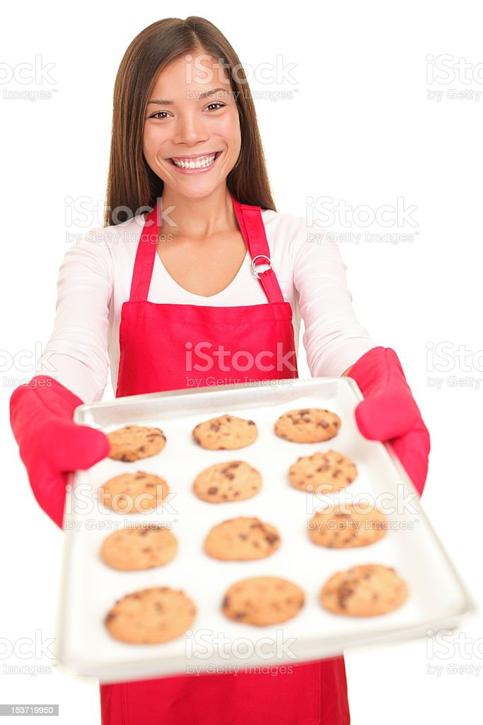 Woman baking cookies isolated royalty-free stock photo