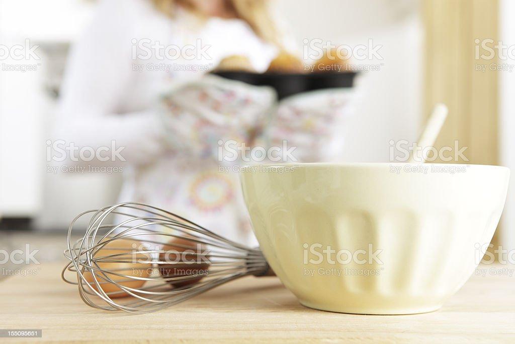 Woman Baking Muffins stock photo