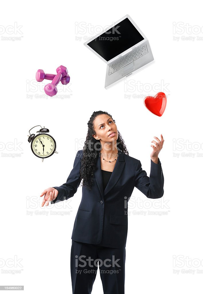 Woman Balancing Life, Work Multi-tasking Busy Lifestyle on White Background stock photo