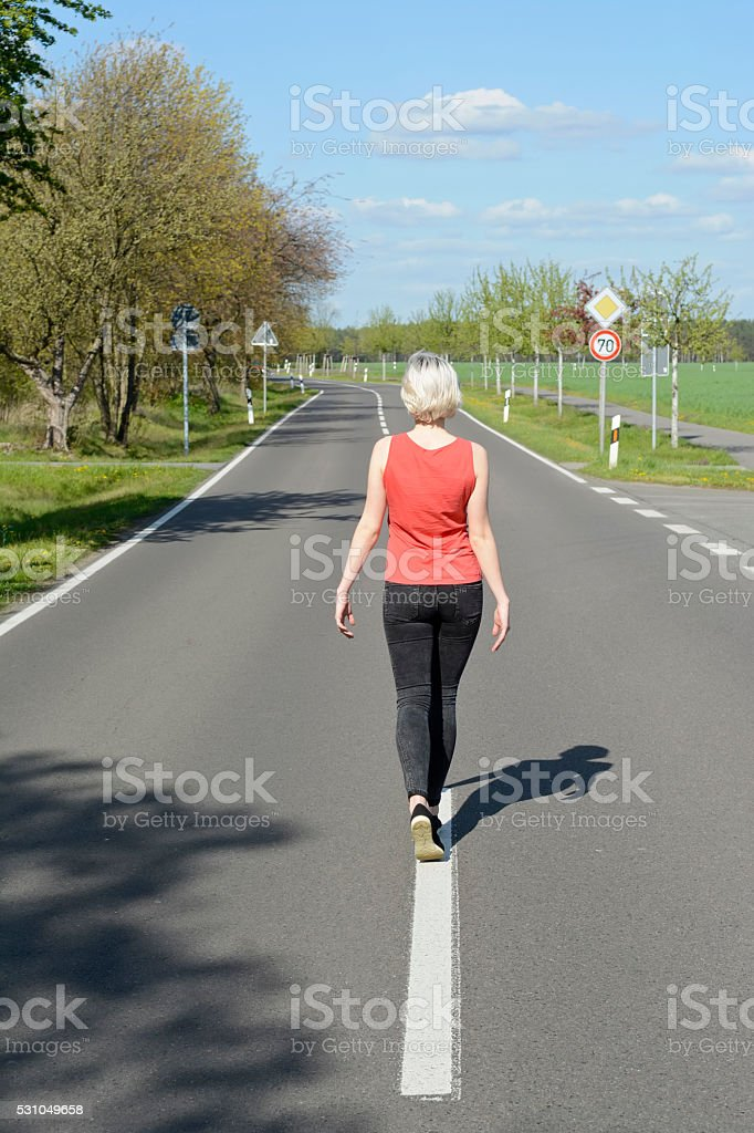 woman balancing stock photo
