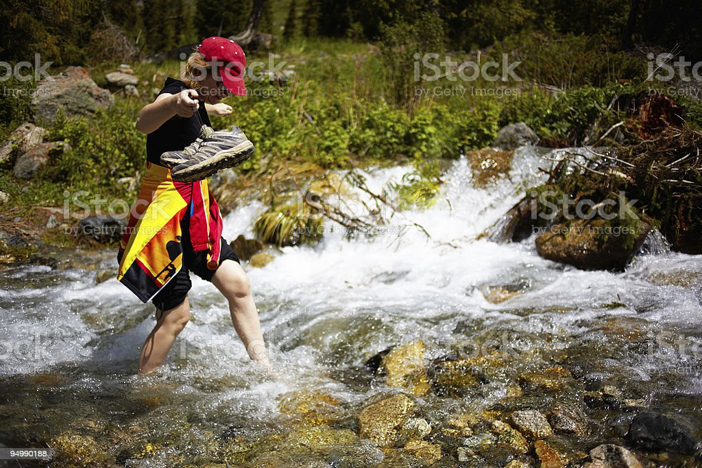 Woman Barefoot in Creek royalty-free stock photo