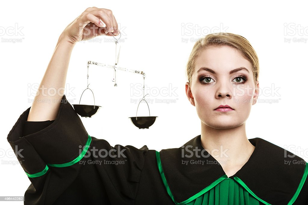 woman barrister holding scales. stock photo