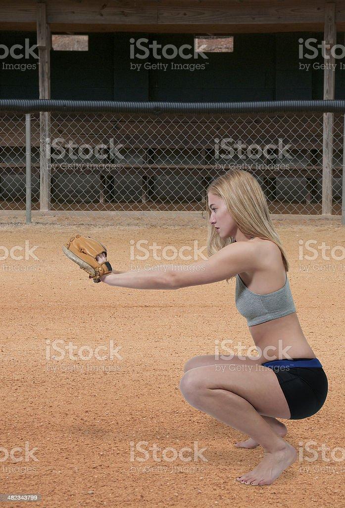 Woman Baseball Player stock photo