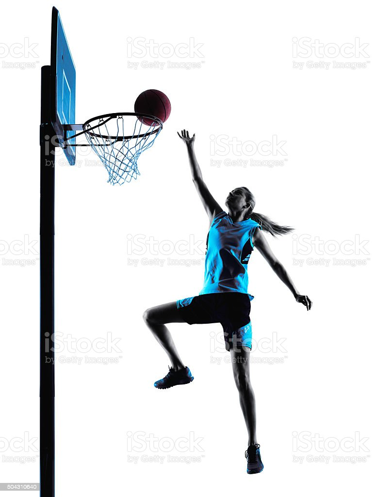 woman basketball player silhouette stock photo