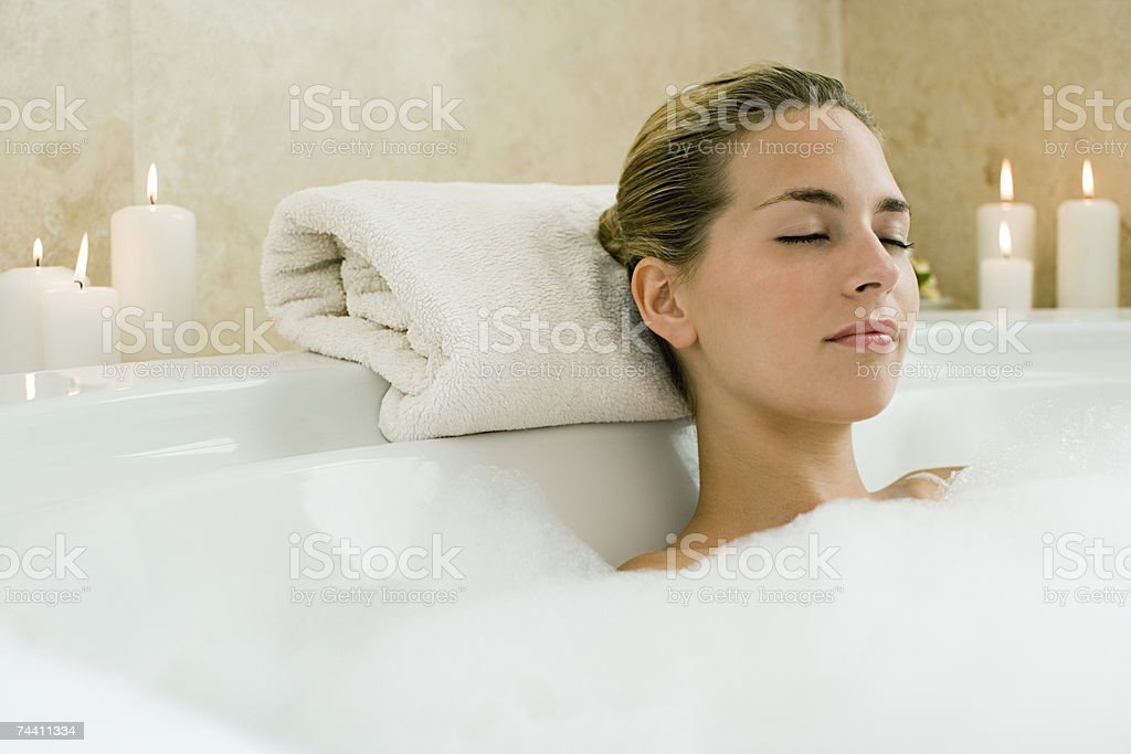 Woman bathing stock photo