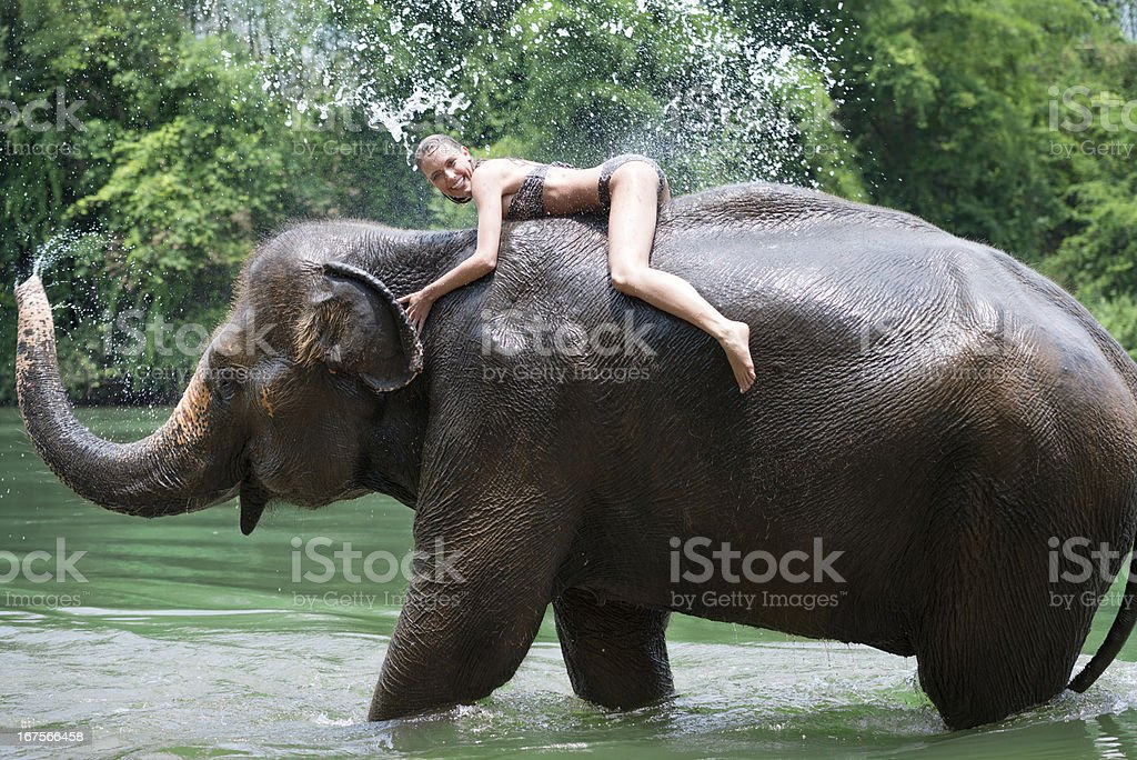Woman bathing with an Elephant, Tropical Rain Forest stock photo