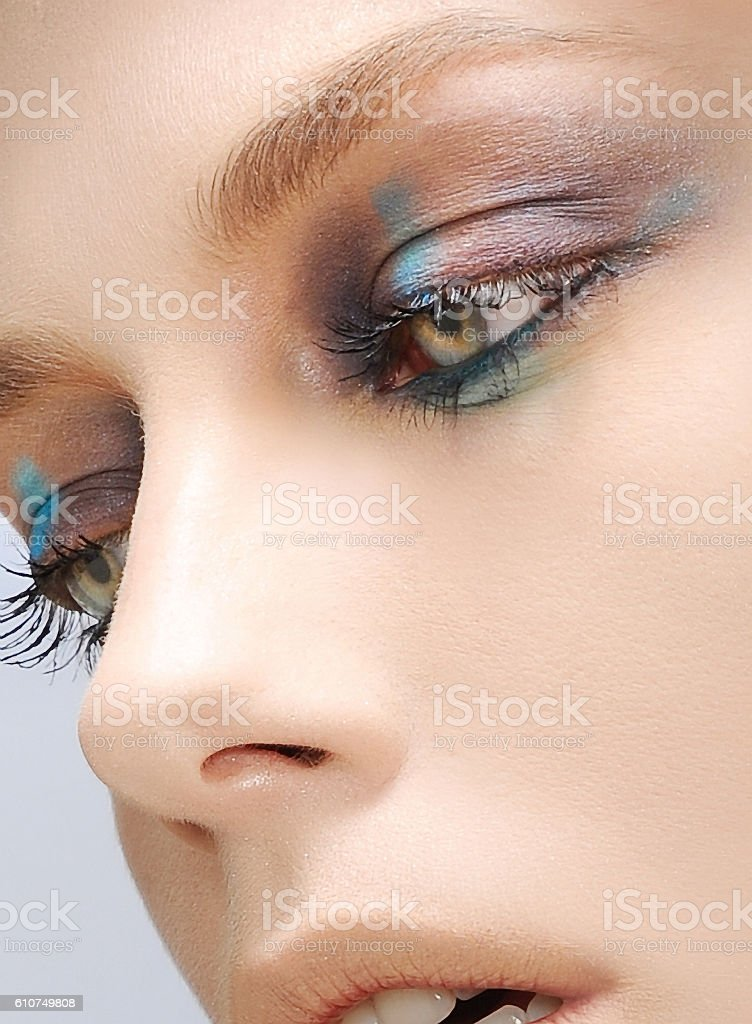woman beautiful fashion portrait with colorful make up stock photo