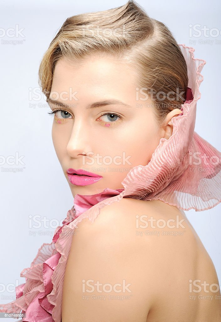 woman beautiful fashion portrait with pink scarf stock photo