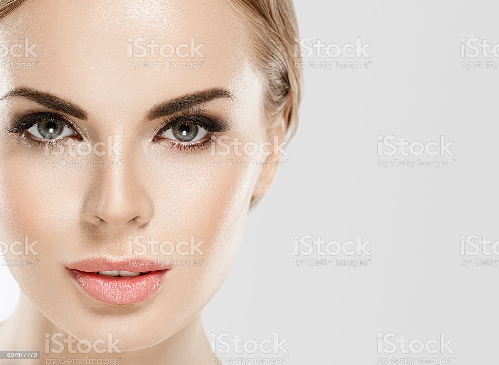 Woman beauty close up  portrait studio on white stock photo