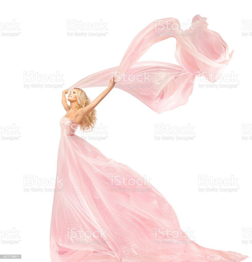 Woman Beauty Fashion Dress, Girl Silk Gown Waving Wind Fabric stock photo