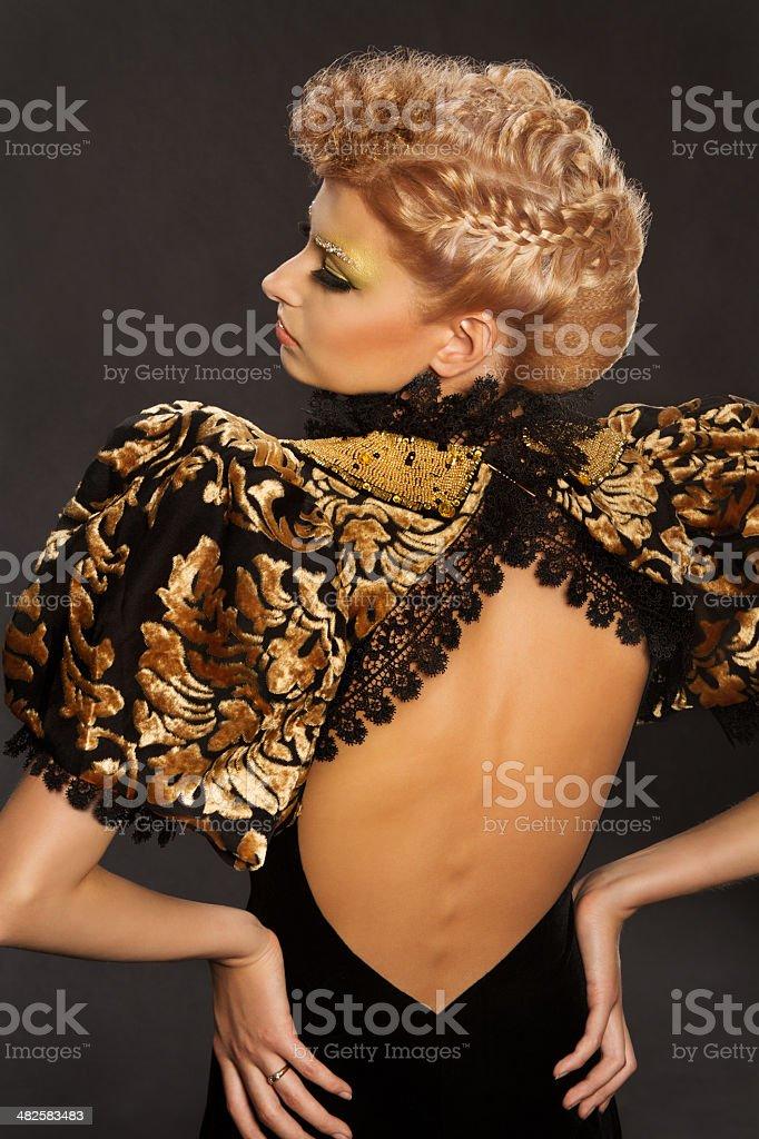 woman beauty french braid hairstyle, beautiful girl fashion portrait stock photo