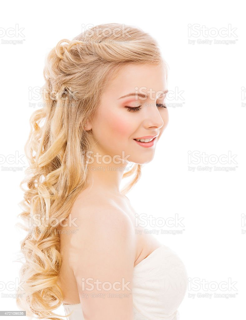 Woman Beauty Makeup Long Hair, Young Girl Blond Curly Hairstyle stock photo