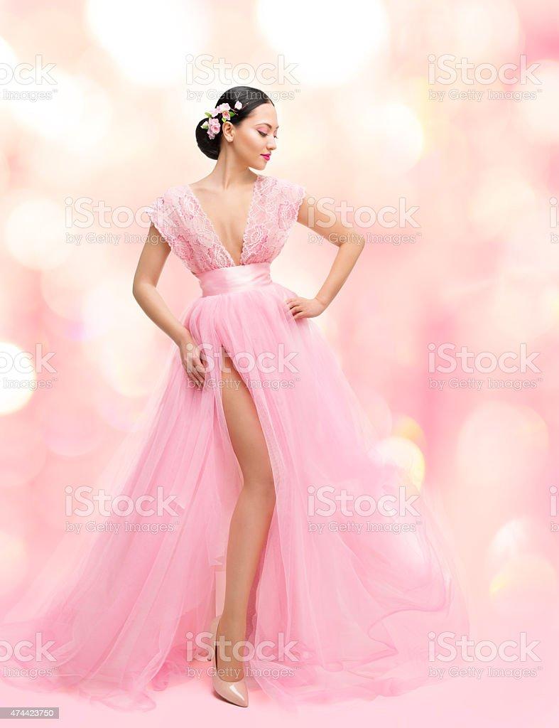 Woman Beauty Portrait in Pink Dress with Sakura Flower, Asian Girl...