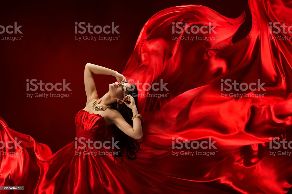 Woman Beauty Portrait Red Dress, Girl Dancing with Long Cloth stock photo
