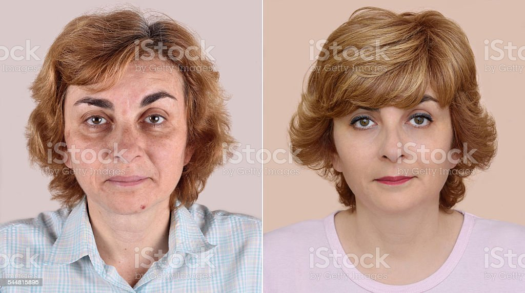 Woman before and after applying make-up and hairstyling stock photo