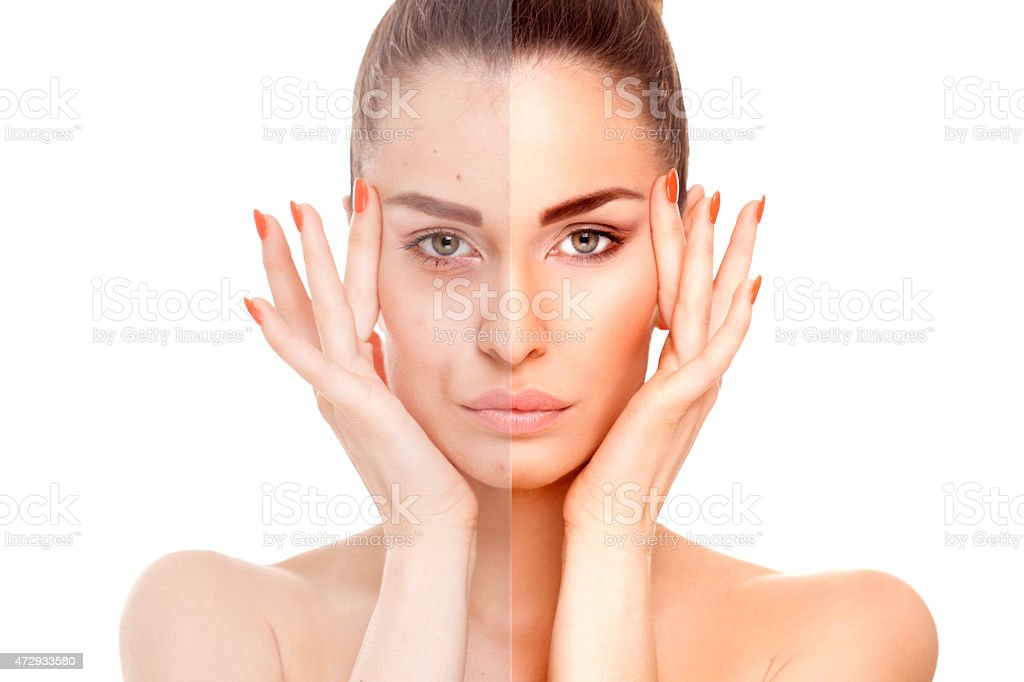 A woman before and after shot with and without makeup stock photo