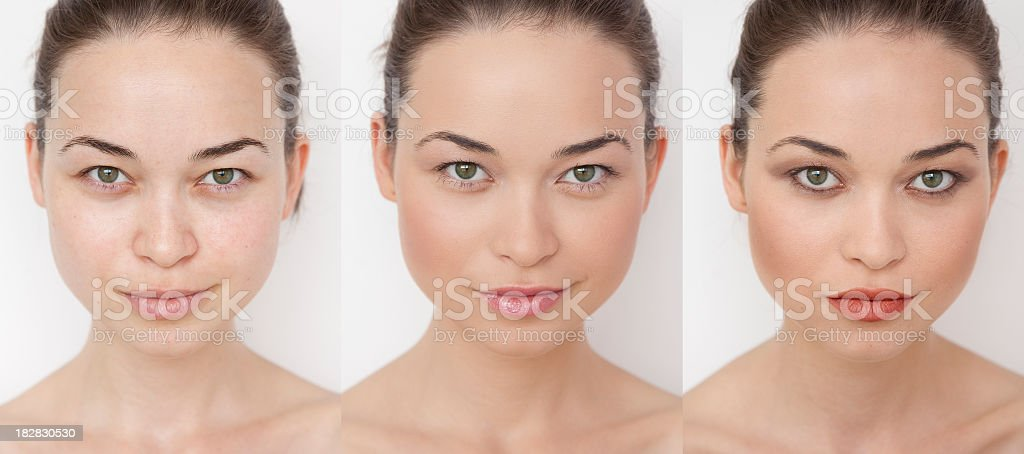 Woman before, during and after putting on make-up stock photo