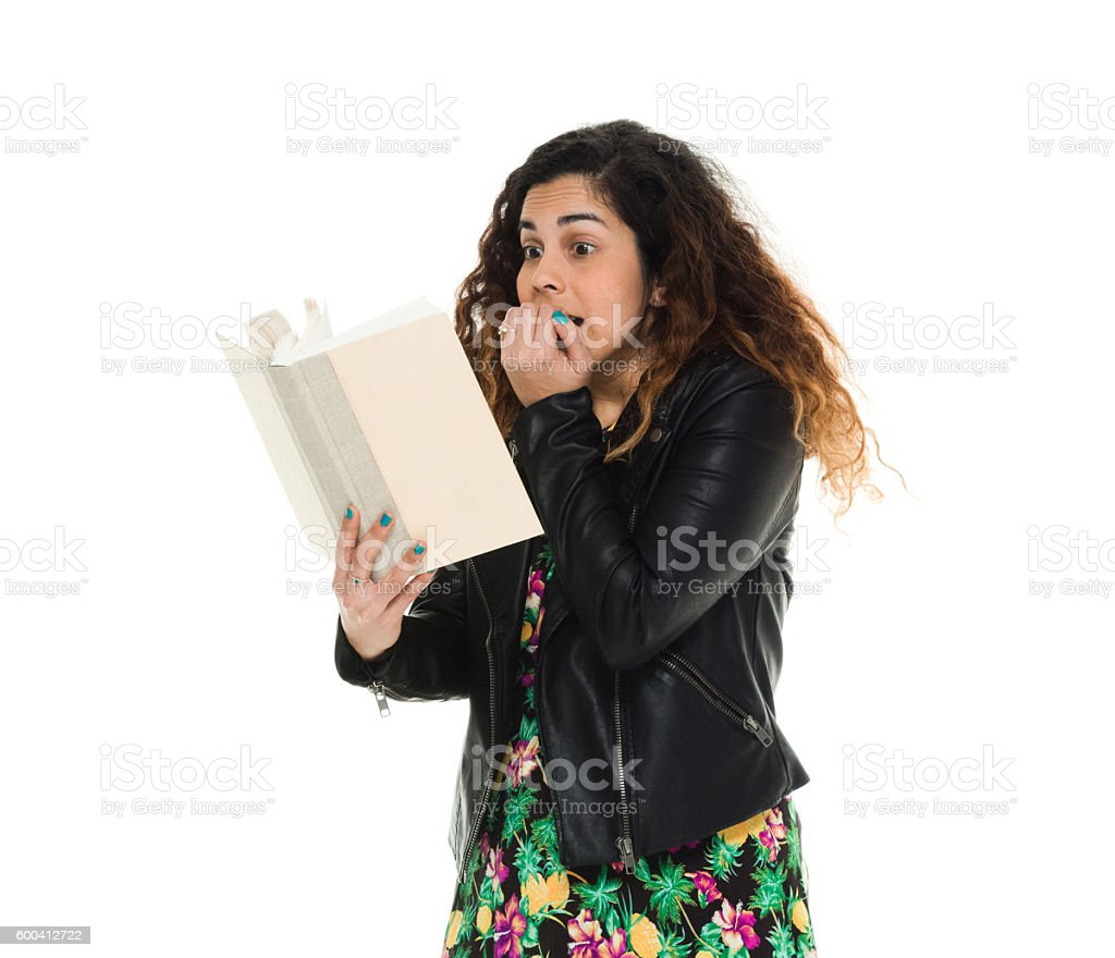 Woman being scared stock photo
