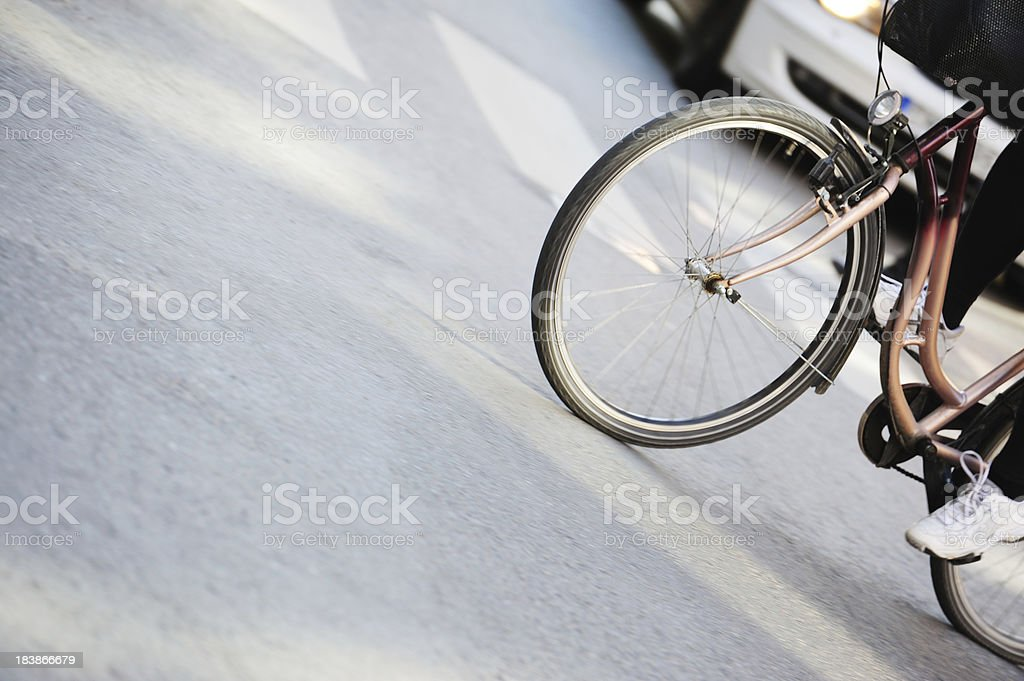 Woman bicycle on zebra crossing royalty-free stock photo
