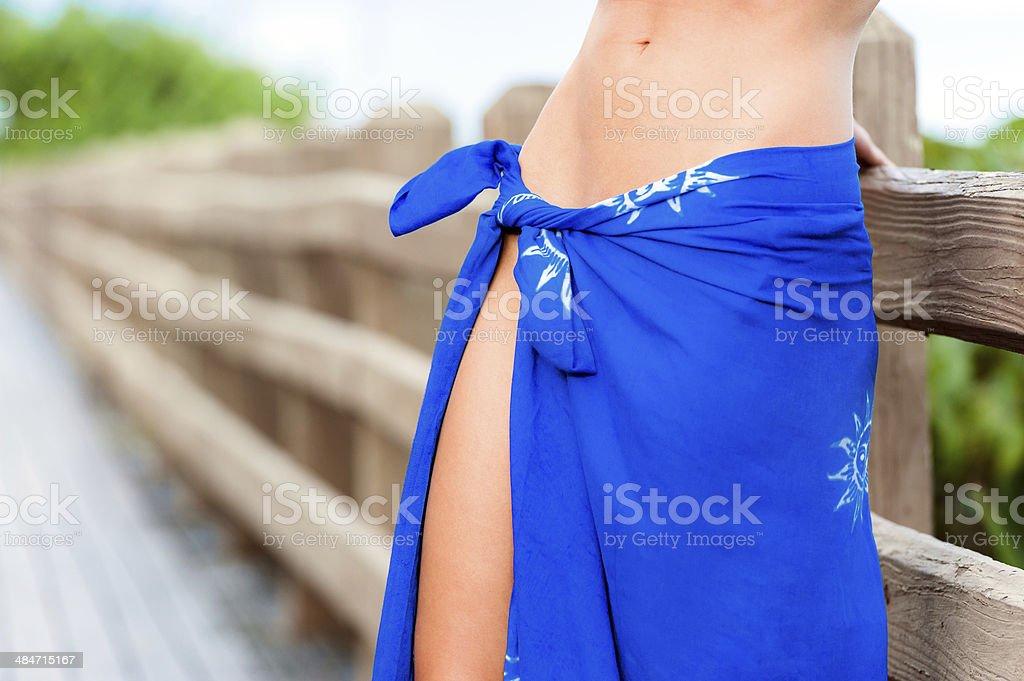 Woman Bikini Model displaying Paraya stock photo