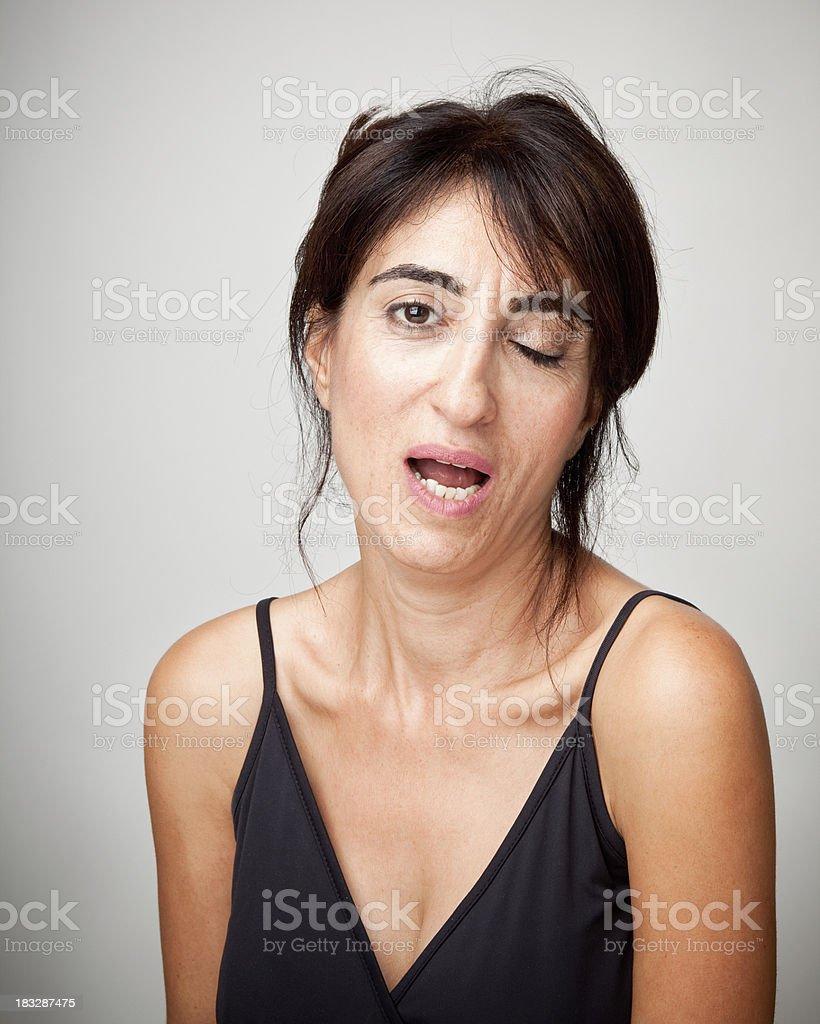 Woman blinking stock photo
