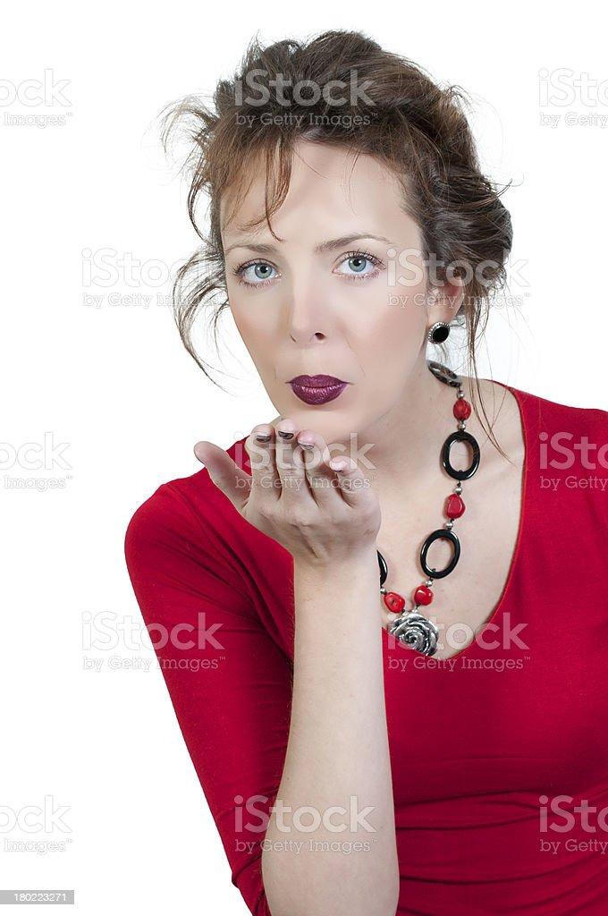 Woman Blowing a Kiss royalty-free stock photo