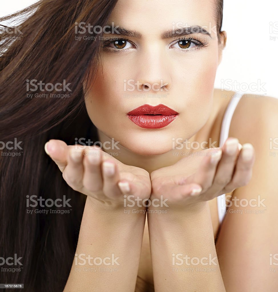 Woman Blowing Kisses royalty-free stock photo
