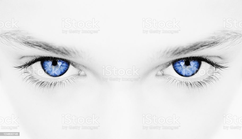 woman blue eyes stock photo