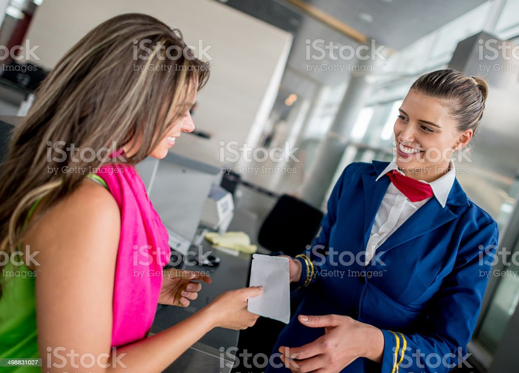 Woman boarding the plane stock photo