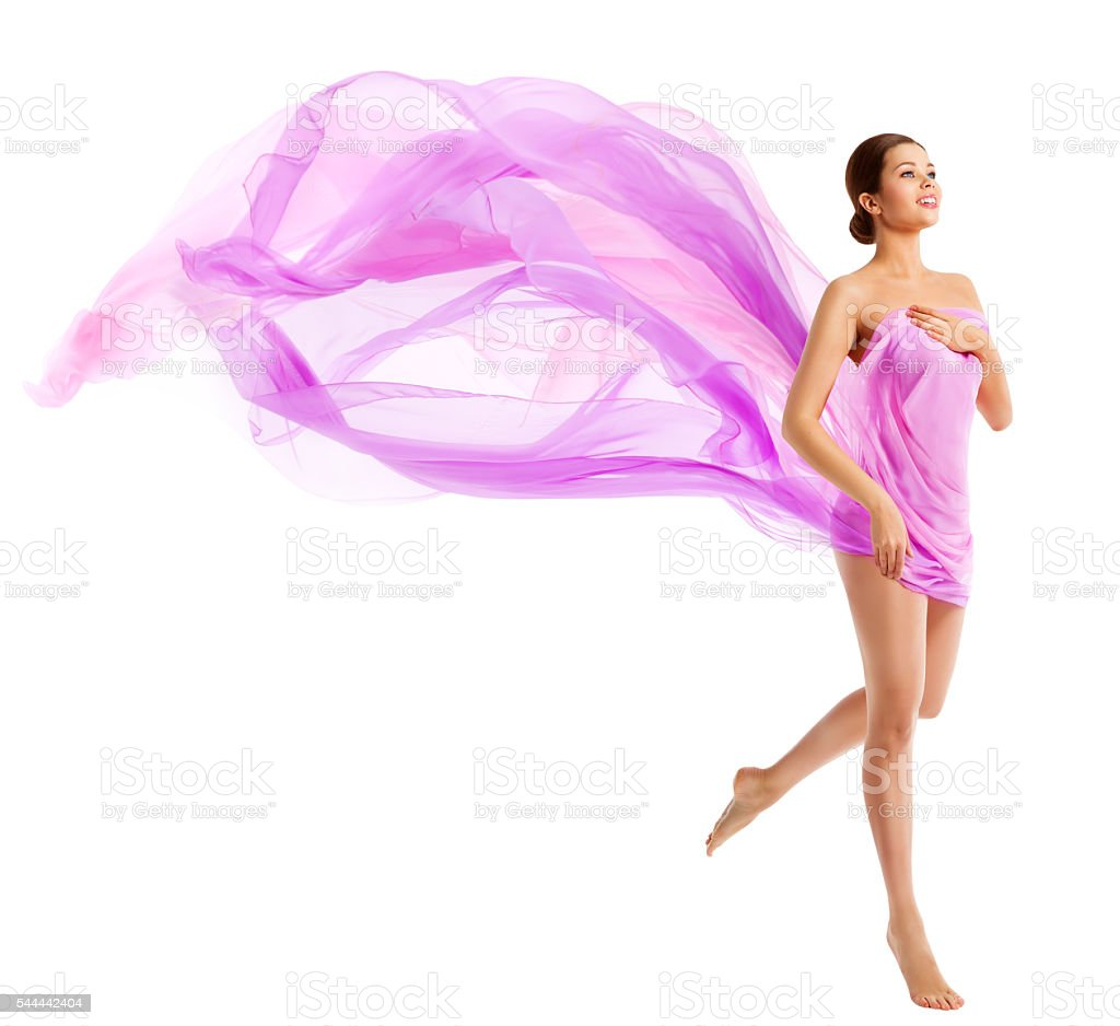 Woman Body Beauty, Fashion Model Waving Silk Fabric, Cloth Flying stock photo
