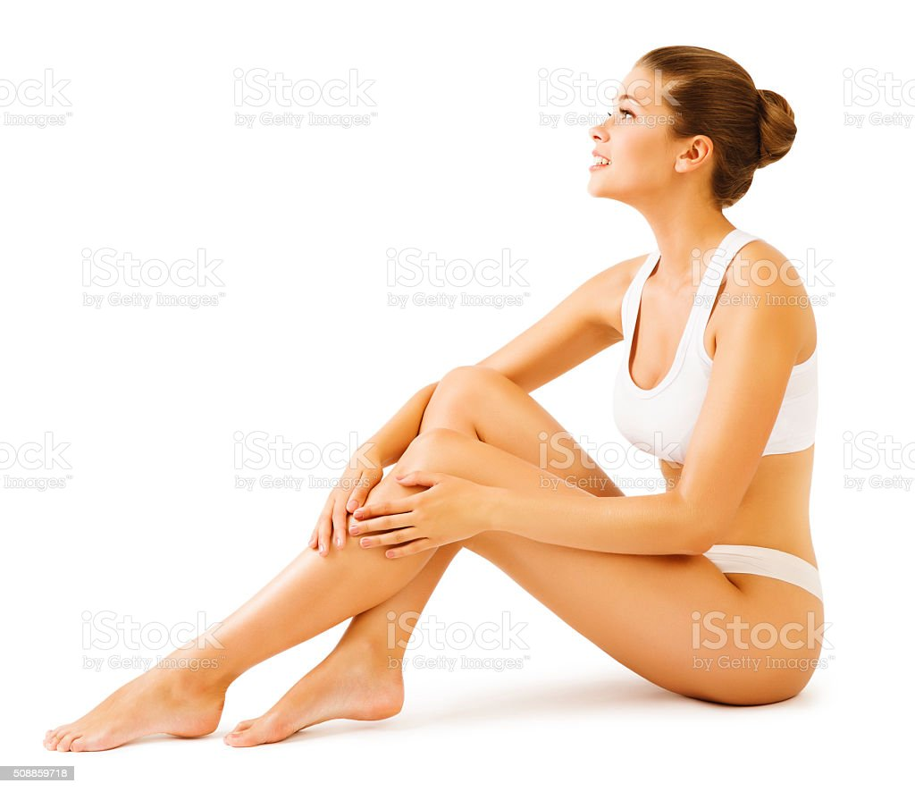Woman Body Beauty, Model Girl Sitting White Underwear, Leg Skin stock photo