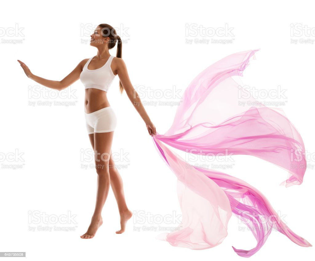 Woman Body Beauty, Sport White underwear, Waving Fabric, Pink Cloth stock photo