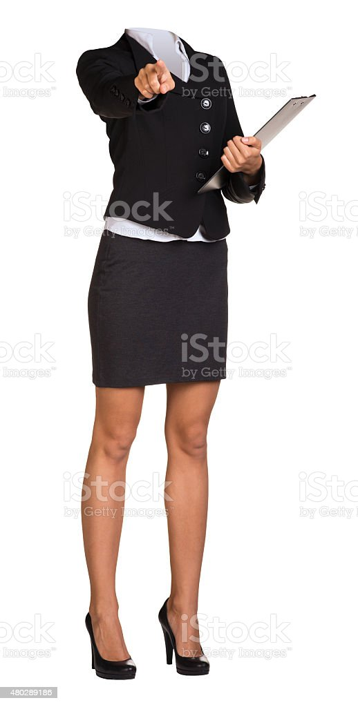 Woman body standing with folder stock photo