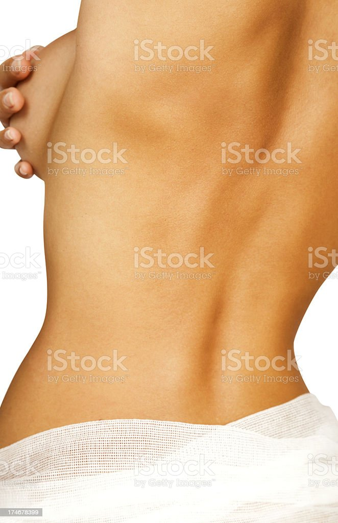 Woman body wrapped in bandages royalty-free stock photo