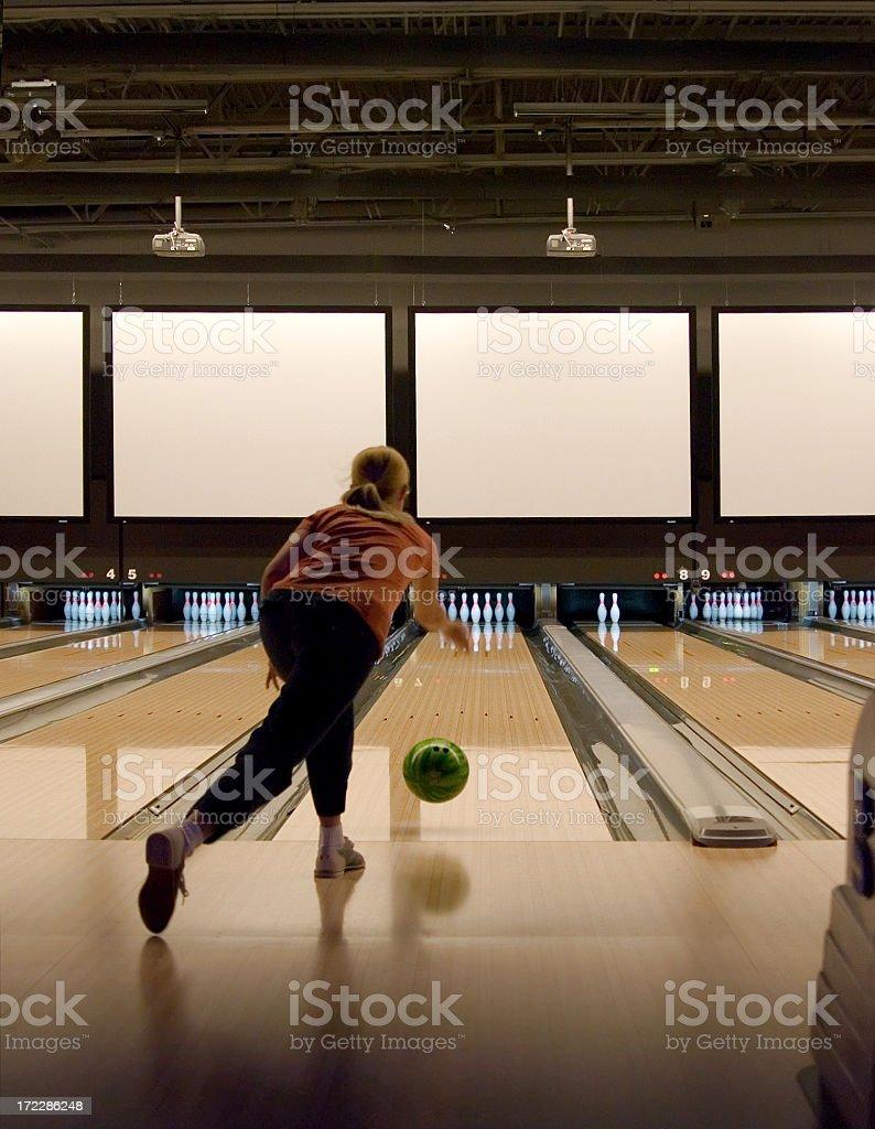Woman Bowling royalty-free stock photo