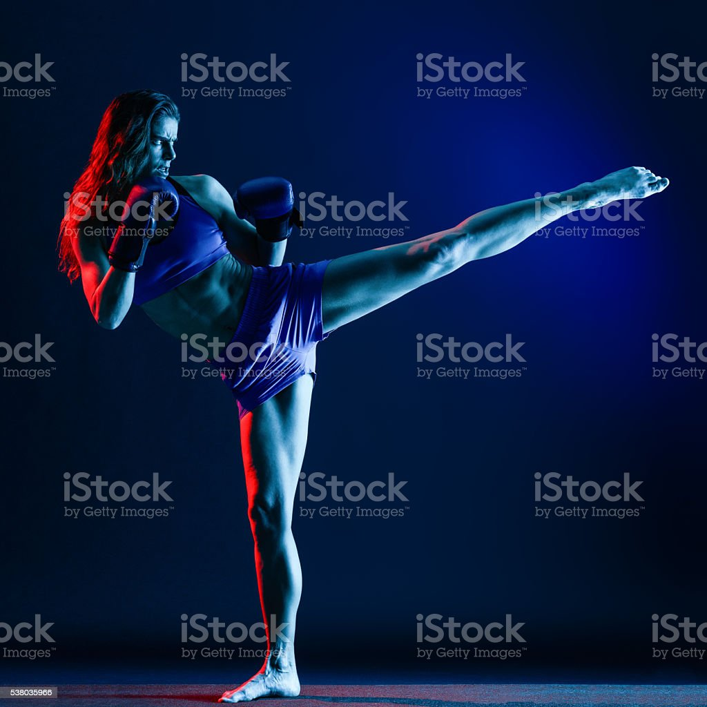 woman boxer boxing isolated stock photo