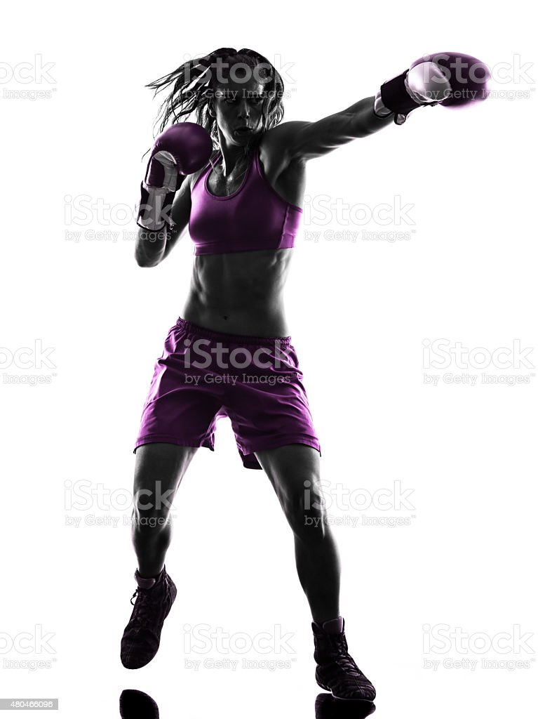 woman boxer boxing kickboxing silhouette isolated stock photo