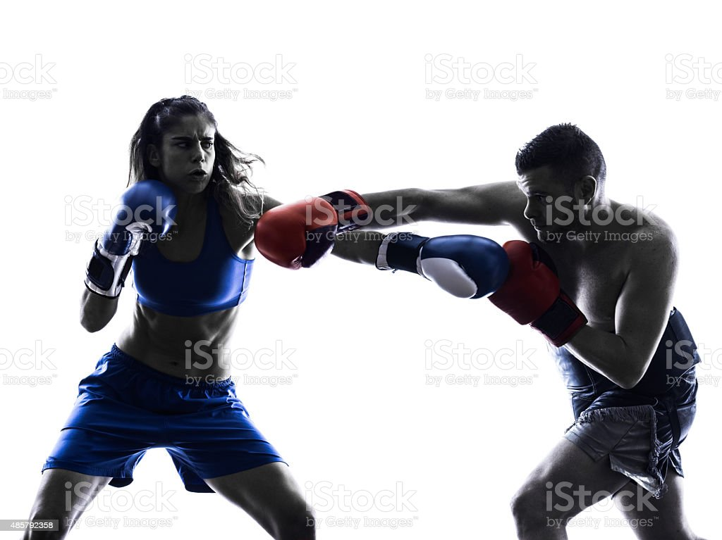 woman boxer boxing man kickboxing silhouette isolated stock photo